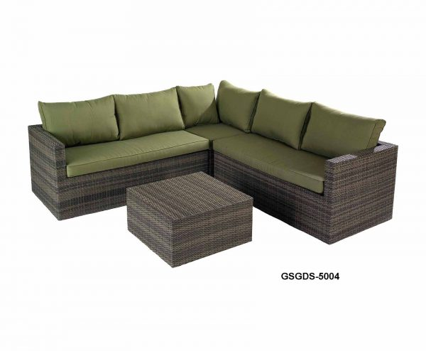 Garden Sofa L Shape In Green 2+2 With Cushions
